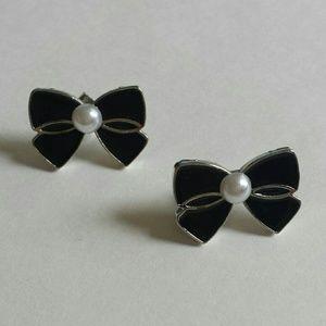 Black Bow Pearl Post Earrings